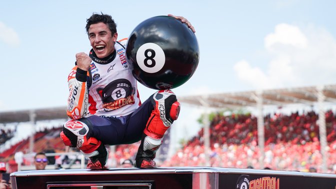 Marc Marquez winning his 8th world championship.
